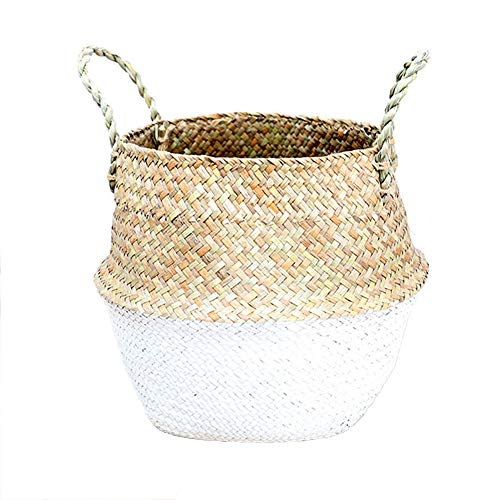 Manual Woven Seagrass Belly Basket for Storage Plant Pot Basket and Laundry, Picnic and Grocery Basket Foldable Laundry Basket Toys Storage (belly diameter 32 high 28 caliber 25, White)