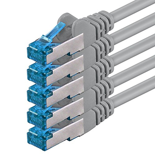 1aTTack.de Cat6 a Netzwerkkabel Cat Cat 6 a Kabel LAN Ethernet Patchkabel 500Mhz 10 Gb s grau - 5 Stück 0,5m