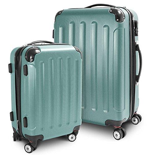 BERWIN Kofferset M + L 2-teilig Reisekoffer Trolley Hartschalenkoffer ABS Teleskopgriff Modell Stripes (Lime Green)