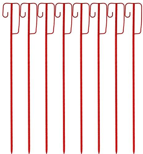Absperrleinenhalter rot lackierte Laterneneisen, Warnnandhalter 1200mm mit UVV Sicherheitsbügel - 8 Stück Set