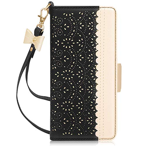 WWW Wallet Case Compatible with Samsung Galaxy S21/Galaxy S21 5G 6.2',[Luxurious Romantic Carved Flower] Leather Wallet Case with [Makeup Mirror] [Card Slots] for Galaxy S21 6.2' (2021) Black
