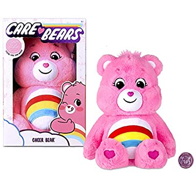 Care Bears 22061 14 Inch Medium Plush Cheer Bear, Collectable Cute Plush Toy, Cuddly Toys for Children, Soft Toys for Girls and Boys, Cute Teddies Suitable for Girls and Boys Aged 4 Years + by Basic Fun