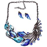 XingBeiBei Fashion Peacock Shape Jewelry Alloy Necklace Earrings Jewelry Sets (Blue)