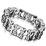 """Cupimatch Mens Heavy Gothic 18MM Wide Biker Stainless Steel Motorcycle Chain Bracelet 9.1"""""""