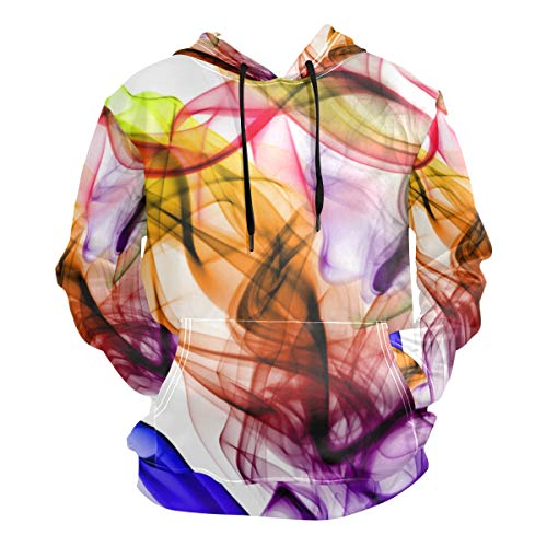 Ahomy Sudadera con capucha para hombre, color humo 3D, unisex Multi 02 M