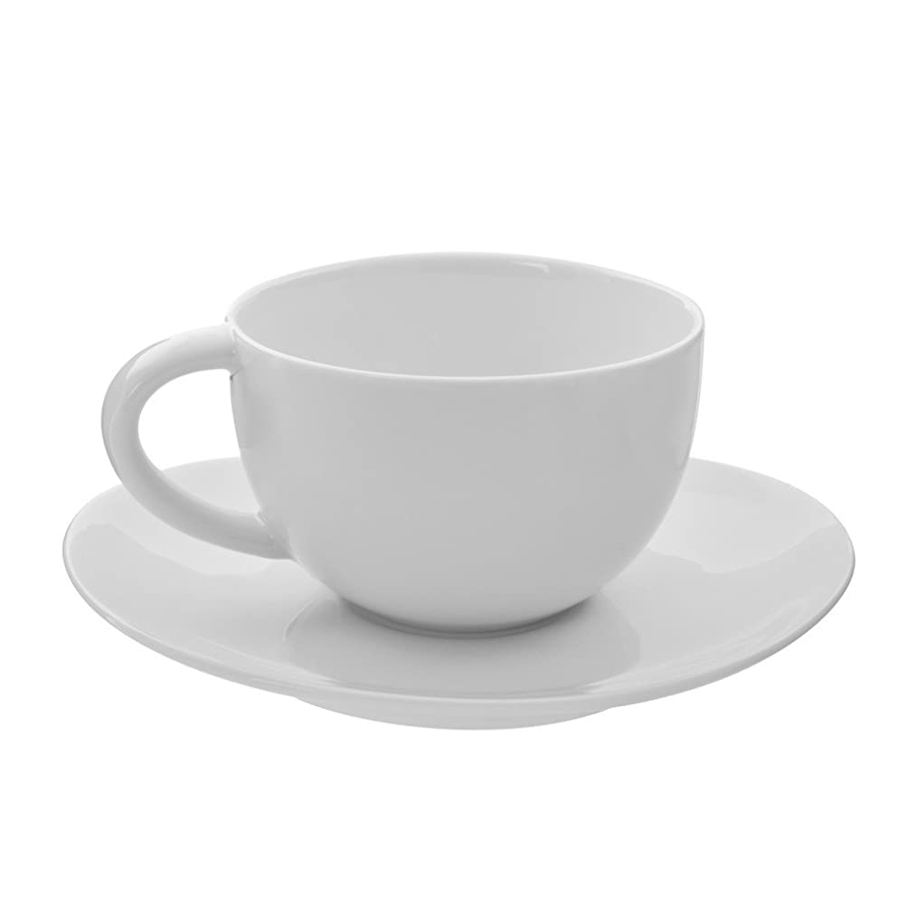 10 Strawberry Street Royal Oval 10 Oz Oversized Cup/Saucer, Set of 6, White