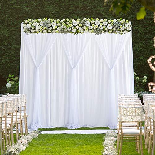 HBBMAGIC Tüll Foto Hintergrund Weiß 150 cm*215 cm,Chiffon Vorhäng für Fotostudio,Hochzeit,Raumdekoration