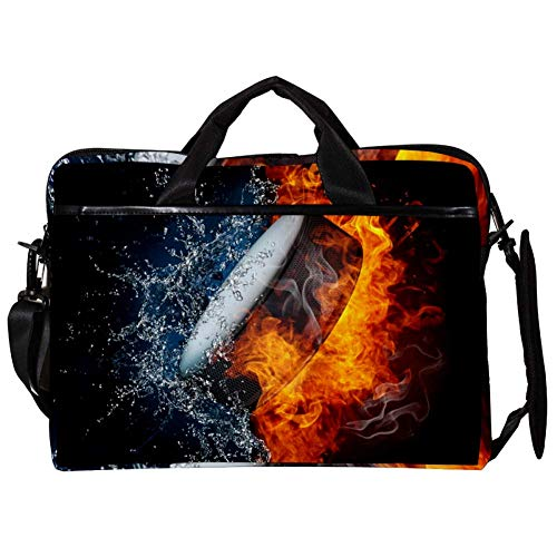 TIZORAX Laptop Messenger schoudertassen Hockey Puck In Fire & Water Computer Cases Notebook draagtas 15-15,4 inch handtas