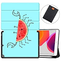 "MAITTAO iPad 10.2"" 2019 Case with Apple Pencil Holder,Folio Stand Smart Cover Shockproof Soft TPU Back Shell For iPad 7th Generation 10.2 inch Tablet Sleeve Bag 2 in 1 Bundle,Cute Fresh Creative 17"