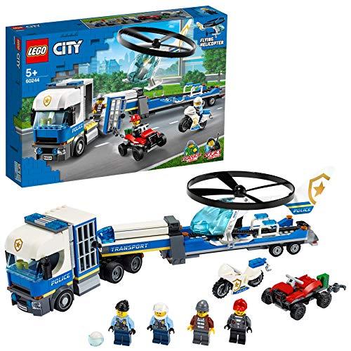 LEGO60244CityPolicía:CamióndeTransportedelHelicóptero,SetdeConstrucciónparaNiñosa Partir de 5años