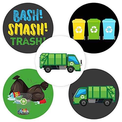 Garbage Truck Sticker Labels - Trash Bash Birthday Party Supplies - Set of 50