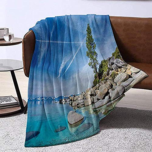 HSBZLH Coperta Agnellata Matrimoniale Lake Blanket Sofa Blanket Clear Dreamy Sky Over Inland Creek Circondato Terra Liquid Surface of Earth Stampa Warm Sofa Blanket Large 80X60 in for Adults