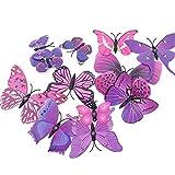 BLOUR Pegatinas de Pared tridimensionales en 3D Pegatinas de Pared de Mariposa tamaño 12 Traje Cortina de Boda Pegatinas de visualización de Ventana Decoración del hogar