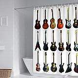 Duschvorhang Wasserdicht Duschvorhang,Anti-Schimmel Polyester Duschvorhang mit 12 Duschvorhangringe Waschbar Duschvorhang für Dusche & Badewanne Gitarre-W180xh180cm