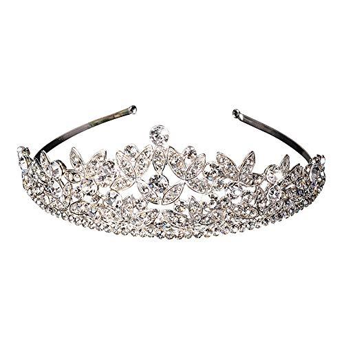RanDal Joyería de la boda Concurso Corona Diadema Cristal Diamante de imitación Princesa nupcial Tiara Diadema