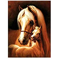 油絵 数字キットによる絵画 塗り絵 大人 手塗り 馬の動物 DIY絵 デジタル油絵 40x50 センチ (diyの木製フレーム)