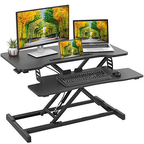 Standing Desk Converter with Height Adjustable, 31.5 inch Ergonomic Sit Stand Workstations with Removable Keyborad Tray, Gas Spring Home Office Desk Workstation for Dual Monitor Laptop by Perlegear