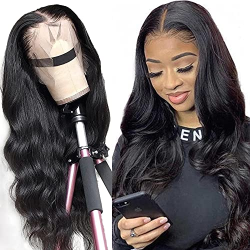 Body wave Lace Front Human Hair Wigs Brazilian Virgin Human Hair 13X4 Lace Frontal Wig 150% Density Pre Plucked With Baby Hair Natural Black For Black Women 20 Inch