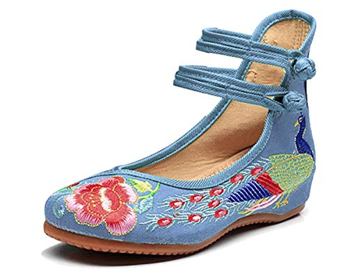 Minetom Damen Elegant Doppel-Bgel Ethnische Bestickte Schuhe Tanzschuhe Niedrigem Keil Ballerina Mary Jane Blumen Flache Hellblau EU 40