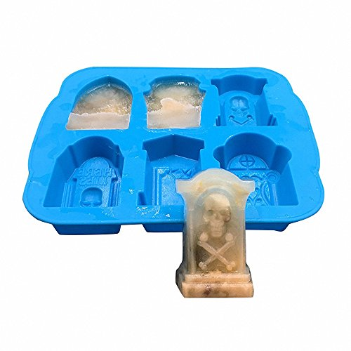 MoldFun 3D Halloween Tombstone Coffin with Skulls Spider RIP Silicone Mold Tray for Chocolate Candy Ice Cube Jello Jelly Mini Cake Soap Crayon Melt Baking Bar Party Supplies