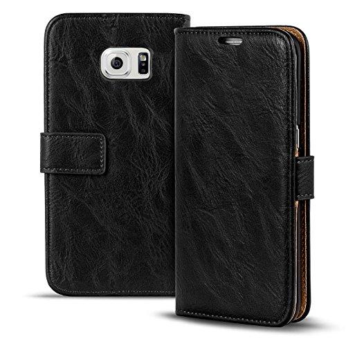Verco Galaxy S6 Edge Plus Hülle, Premium Handy Schutzhülle für Samsung Galaxy S6 Edge Plus Hülle PU Leder Wallet Tasche Retro Flipcase, Schwarz