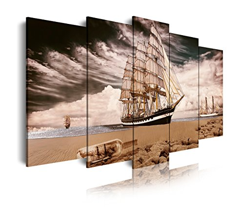DekoArte 298 - Cuadros Modernos Impresión de Imagen Artística Digitalizada | Lienzo Decorativo para Tu Salón o Dormitorio | Estilo Paisaje con Barco Velero En Playa con Tormenta | 5 Piezas 150x80cm