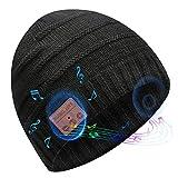 Bluetooth Beanie for Men Wireless Beanie Hat Knit Winter Hat Beanie for Men Women, Upgrade V5.0 Music Hat Black Beanie Bluetooth Hat, Unique Christmas Tech Gifts for Men Women Boys Girls Dad Kids