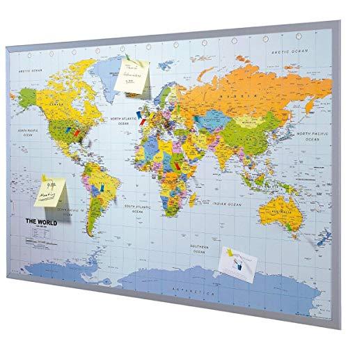 Mapa del mundo de la pared XXL - incluyendo 12 banderas de marcador - corcho - 90 x 60 cm - Mapa