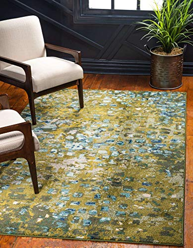 Unique Loom Jardin Collection Vibrant Abstract Area Rug, 5 x 8 Feet, Green/Olive