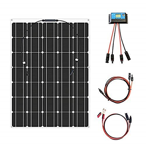 YUANFENGPOWER 100 watt 12 v Flexible Solarpanel Kit Einkristallines Modul + 10A Solarregler für Boot Auto Wohnmobil Caravan Home 12 v Ladegerät (100w-2)