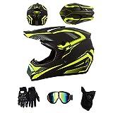 ZLCC Casco da motocross,casco integrale per adulti e bambini,con Occhiali/Maschera/Guanti, Quad Bike ATV Go-kart Stampato Moto da Cross Casco Completo (Nero e giallo,XL)