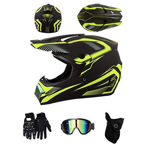 ZLCC Casco da motocross,casco integrale per adulti e bambini,con Occhiali/Maschera/Guanti, Quad Bike ATV Go-kart Stampato Moto da Cross Casco Completo (Nero e giallo,L)