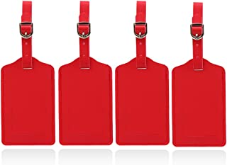 Luggage-Tags Leather Privacy Labels Protection - Suitcase Tags Travel Identify Accessories for Men and Women (Set of 4 Red)