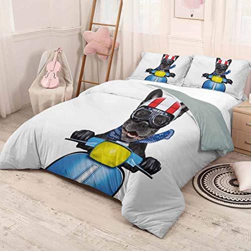 HELLOLEON - Ropa de cama para conductor de perro puro y lujoso Bulldog francés en scooter con gafas de casco Rocker Cachorro Poliéster - Suave y transpirable (2 camas), gris carbón, azul cobalto