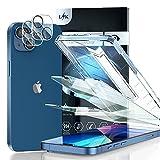 LϟK 4 Pack Protector de Pantalla Compatible con iPhone 13 Mini 5.4 Pulgada con 2 Pack Cristal Templado y 2 Pack Protector de Lente de Cámara - Anti Luz Azul Sin Burbujas Dureza 9H Fácil de Instalar
