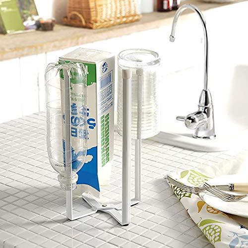 Yibang Multifunktionaler Küchenständer-Halter, faltbarer Küchentisch-Ständer Halter für Plastiktüten, Flaschen und Tassen, Trockengestelle, Abfalleimer, Müllbeutelhalter für Zuhause, Küche, Turm