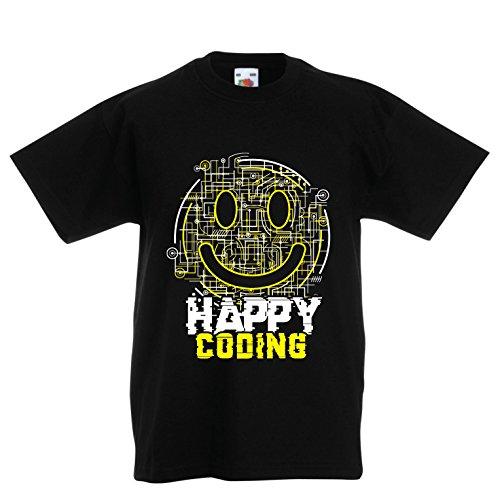 lepni.me Kinder Jungen/Mädchen T-Shirt Happy Coding - Smiling Gesicht, Gamer, Programmierer Geschenk (14-15 Years Schwarz Mehrfarben)