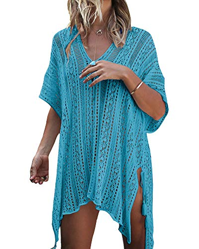 ZhuikunA Donna Scollo A V, Copricostume Mare, Vestiti Spiaggia, Costume da Bagno, Maglieria Parei, Bikini Cover up, Beachwear Azzurro del Lago