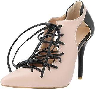 KOLNOO Handmade Womens Stiletto Dress Shoes Cross Shoelace Footwear Shoes Large Size Party Fashion Pumps