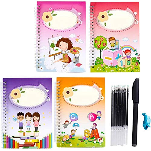BEIUFRHOWQ Kids Magic Writing Board Reusable Magic Writing Paste Children,Be Reused Handwriting Copybook Set Magic Calligraphy,Tracing Book for Kid Calligraphic Letter Writing with Pen (Style A)