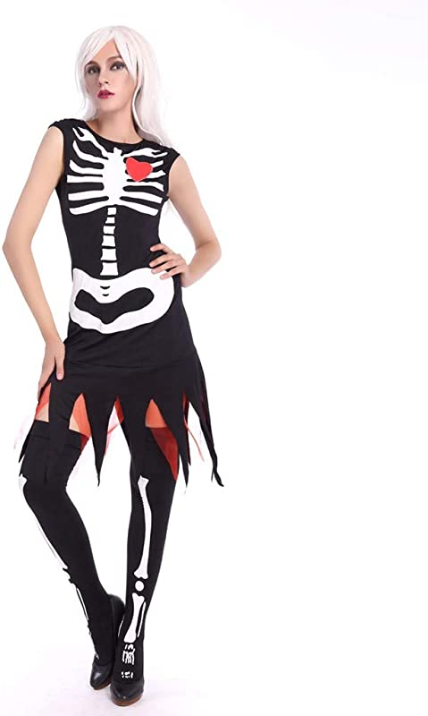 Onegirl Women S Sexy Bone Print Sleeveless Slim Halloween Costumes Dress Tassel Tops And Stockings
