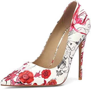 Hand Painted Print High Heels For Banquet Wedding Dress Daily (Color : B, Size : 35)
