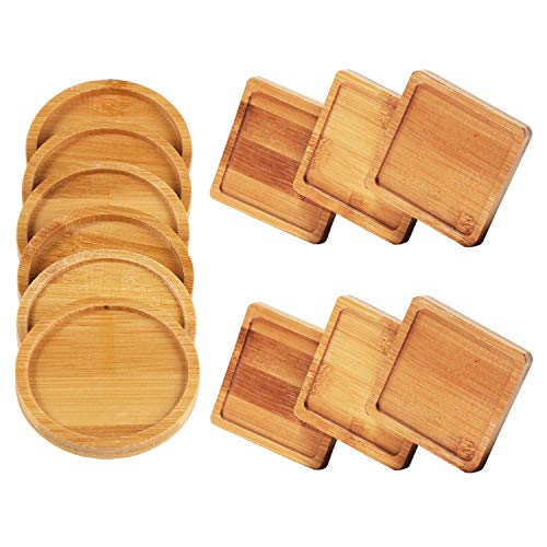 Unime 12 Pack Bamboo Trays Set Bamboo Plant Saucer for Small Plant Pot Flower Pot, Square Bamboo Trays and Round Bamboo Trays for Owl Pot with Hole