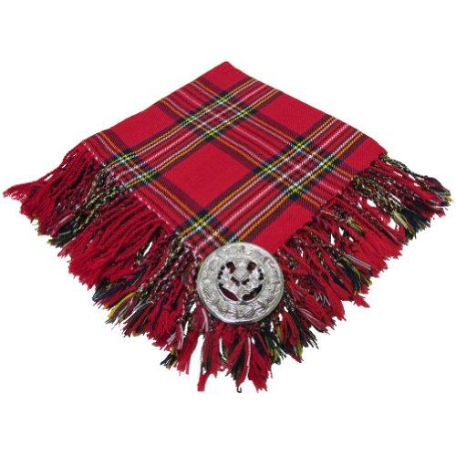 "Hommes Highland Kilt Mouche Plaid Royal Stewart Tartan 48"" X 48""/ Écossais Mouche Plaid avec Broche Chardon"