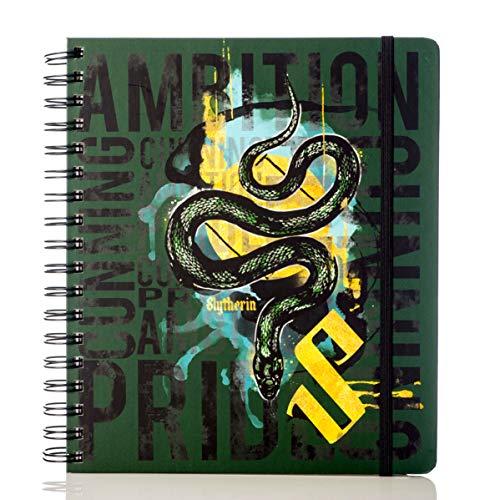 Conquest Journals Limited Edition Harry Potter Slytherin 2020 Wochenplaner, Wochenübersicht, vertikales Format, gewickelt, Spiralbindung, 4 Stickerblätter, Gummiband, Lesezeichen, 200 Seiten