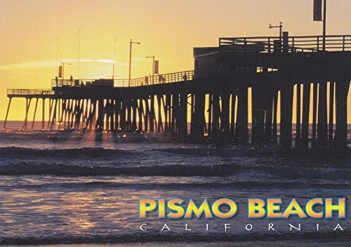 LOMP-CC215 View of the pier at Pismo Beach at sunset, PISMO BEACH CALIFORNIA POSTCARD .. from HibiscusExpress