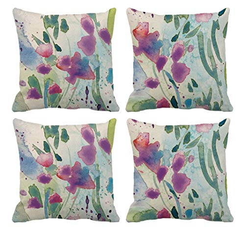 lucasng Purple Flower Linen Cushion Covers Set Of 4 Pillowcase flowers Throw Pillow Covers Sofa Couch Decor Pillow Covers 45 X 45 Cm…