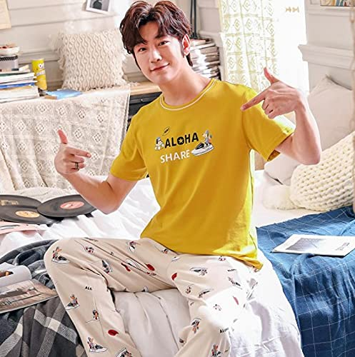 Traje de noche Verano 100% Algodón Conjunto de pijamas de pareja Tops cortos + Pantalones largos Ropa de dormir Dibujos animados Cuello redondo Casual Tallas grandes M-3xl Amantes Pijamas M Hombres
