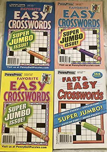 Lot of 4 Penny Press Favorite Easy Crossword Super Jumbo Crosswords Puzzles Books 2020
