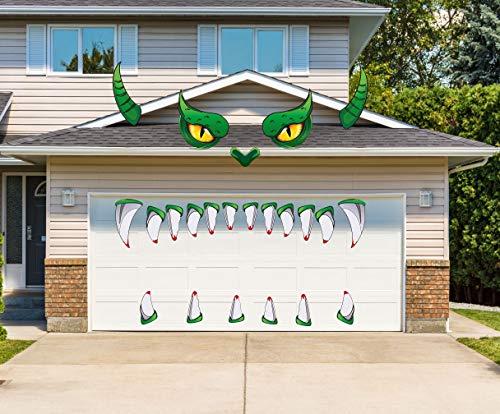 LHKSER Halloween-Dekoration für den Außenbereich – Monster Face Garage Torbogen Tür Fenster Auto Halloween Dekoration